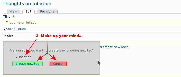 Creating a new tag, step 2
